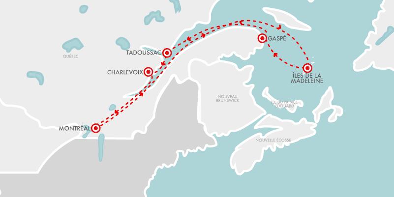 Carte Croisières Iles Madeleine